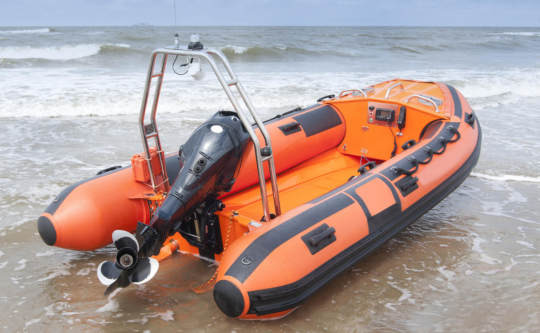 Inflatable boat on beach